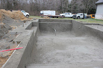 Shotcrete Mix in Dug Pool