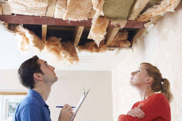 Contractor and Homeowner Inspecting a Collapsed Ceiling