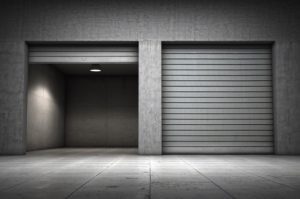 grey garage doors, one open