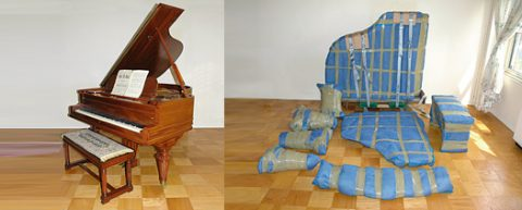 A piano before and after being wrapped to move.